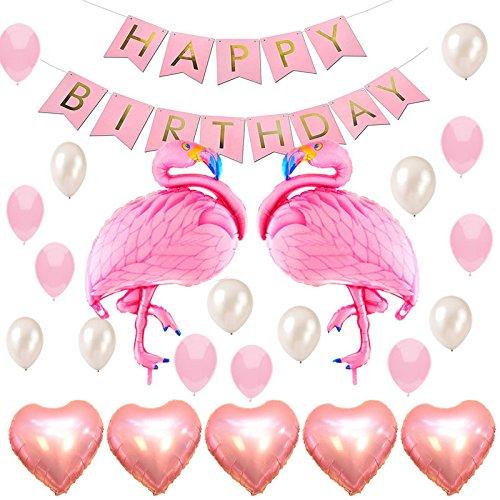 Geburtstag Party Dekoration Flamingo Luftballon partyzubehör Kindergeburtstag Set Helium Ballons,Happy Birthday Girlande,Folienballon Herz Deko Set Rosa