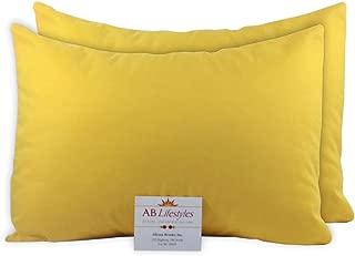 AB Lifestyles 2 Pack 13x18 100% Cotton Travel Pillowcases Envelope Closure Fits MyPillow Travel Size, Toddler Size Pillowcases, Yellow