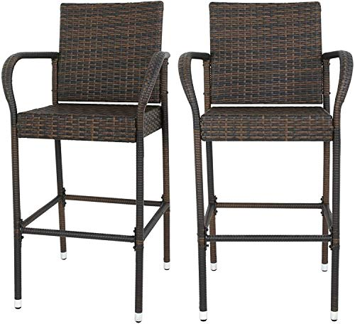 SUPER DEAL Upgraded Wicker Bar Stool Chairs Outdoor Backyard Rattan Chair w/Iron Frame, Armrest and Footrest (2)