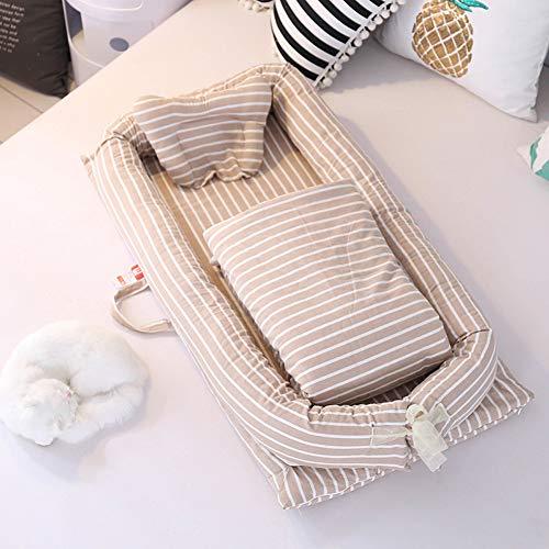 LTSWEET 3 Teiliges Set Baby Nestchen Bett Neugeborene Liege mit Kissen Bettdecke Babynest Tragbare Multifunktionale Kuschelnest Kokon Waschbar Reisebett Säuglinge Matratzen,Braun