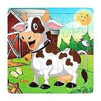 1st market ?20ピース木製パズルおもちゃ漫画動物インテリジェンス教育キッズギフト2#スタイリッシュで人気