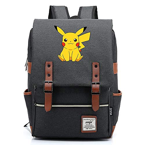 Anime Pikachu Backpack, Teenager Outdoor Travel University Backpack, Fits Laptop Tablet, Weekend Bag 16 inch. Color-05.