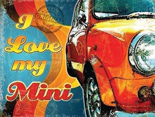 GNKJYY-T I Love My Mini Classic Retro 60's 70's Car Auto Old Garage Cooper S Orange on Groovy Funky Back Ground. for House, Home, Garage, Bedroom, Pub or bar Small Metall/Stahl Wandschild