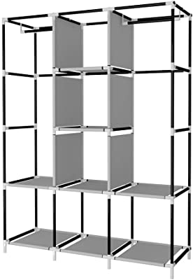 ADA Handicraft Collapsible Wardrobe Portable Closet Storage Organizer Rack with 12 Shelves - Grey (Need to Be Assembled)