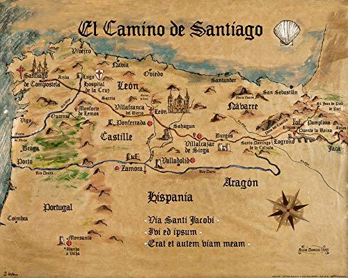 1art1 Jakobsweg - EL Camino De Santiago Anno 1445, Jon Mellenthin Poster Kunstdruck 50 x 40 cm