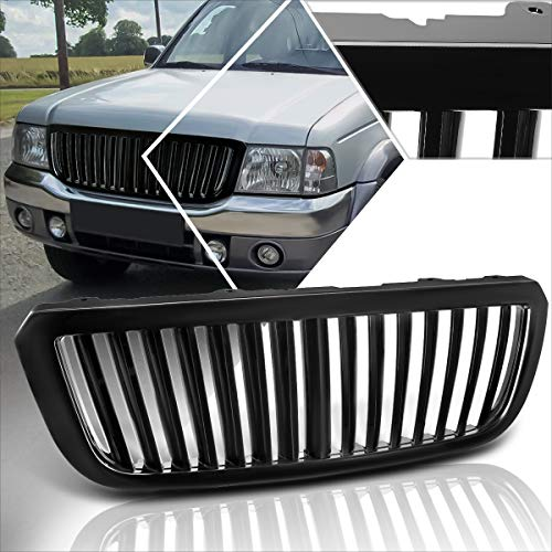 Front Upper Bumper ABS Vertical Fence Style Grill Grille Compatible with 04-05 Ford Ranger (Black)