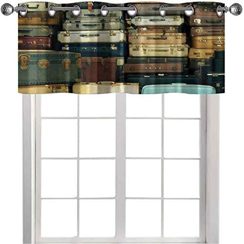 Cenefa de cortina colorida vintage maleta de cuero envejecido, decoración de viaje, mapa nostalgia, 91,4 x 45,7 cm, tratamiento de ventana corta para cocina, comedor, marrón, crema y verde