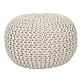 Fernish Décor Hand Knitted Cotton Ottoman Pouf Footrest 20x20x14 INCH, Round Pouf Foot Stool, Knit Bean Bag Floor Chair for Bed Room Living Room Accent Seat (Natural)