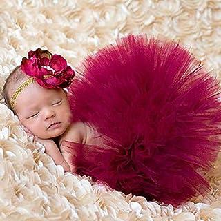 GRETAL Fashion Newborn Baby Girls Photo Photography Prop Tutu Skirt Dress Headband Princess Baby Photography Outfit (Wine ...
