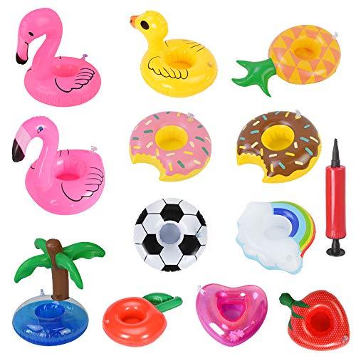 Portabicchieri gonfiabile,12Pcs Portabevande gonfiabile Portabicchieri gonfiabile per piscina Portabicchieri per piscina Flamingo Portabicchieri galleggiante per spiaggia estiva Bevanda per insalata