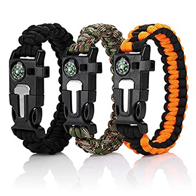 Accmor 3 Pack Paracord Bracelet, Ultimate Tactical Survival Gear Survival Bracelet with Whistle, Fire Starter, Compass & Emergency Knife for Camping/Fishing & More