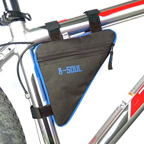 HANBIN Bicicleta Deportiva Bolsa de Almacenamiento Triángulo Saddle Frame Strap-On Pouch para Ciclismo Black+Blue