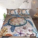 Sleepwish Rustic Map Bedspread Sealife Sea Turtle Coastal King Bedding 3 Pieces Old Brown Marine Duvet Cover Set
