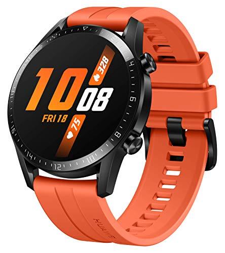 HUAWEI Watch GT 2 Smartwatch (46mm Full-Color-AMOLED, SpO2-Monitoring, Herzfrequenzmessung, Musik Wiedergabe&Bluetooth Telefonie, 5ATM wasserdicht, GPS) Sunset Orange [Exklusiv+5 EUR Amazon Gutschein]