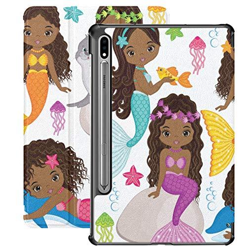 Vector Set Cute Mermaids Dolphin Fur Fundas para Tableta para Samsung Galaxy Tab S7 / s7 Plus Funda Samsung Galaxy S7 Stand Funda Trasera Galaxy S7
