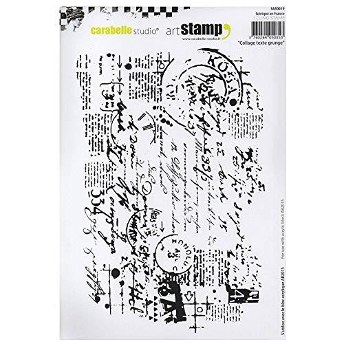 Carabelle Studios SA50019 Carabelle Studio Cling Stamp Art, Stempel Set, Grunge Textcollage, für Papierbasteln, Stempelprojekte, Kartengestaltung und Scrapbooking