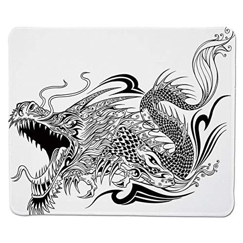 Yanteng Gaming Mouse Pad Drache, Tätowierungsart Traditionelle asiatische geflügelte Kreatur mit dekorativem ethnischem künstlerischem Muster, dekorativ, schwarzweißer genähter Rand