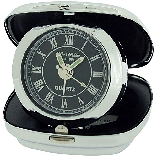 W M Widdop Unisex Small Silver Chrome Black Dial Compact Travel Alarm Clock 9726