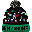 Enlifety Unisex Christmas LED Light-up Knitted Beanies