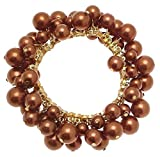 Pulsera de bronce muñecos elásticos con traje de neopreno para mujer diseño perlas de piel sintética 114317
