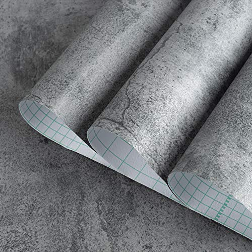 BAYYA Concrete Wallpaper Countertops Contact Paper Cement Grey Wallpaper Peel and Stick 15.75' x 196.85' 3D Rustic Industrial Style Waterproof Removable Self Adhesive Vinyl Film for Bathroom Kitchen