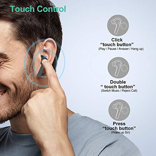 Willful Ecouteur Bluetooth Sans Fil Sport Oreillette Bluetooth 5.0 Intra Auriculaire Tactile USB C Etanche IPX7 HiFi Stéréo Micro Inte?gre? Autonomie 40h Assistant Vocal pour Huawei iPhone Samsung