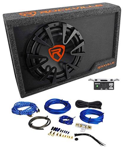 Rockville RWS12CA Slim 1200 Watt 12' Powered Car Subwoofer Enclosure + Wire Kit