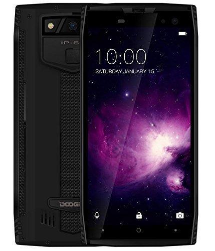 DOOGEE S50-5,7 Zoll (18: 9 Verhältnis) IP68 Wasserdichtes Smartphone, 2,5 GHz Octa-Core 6 GB + 64 GB, Quad-Kameras, 5180 mAh Akku Schnellladung - Schwarz
