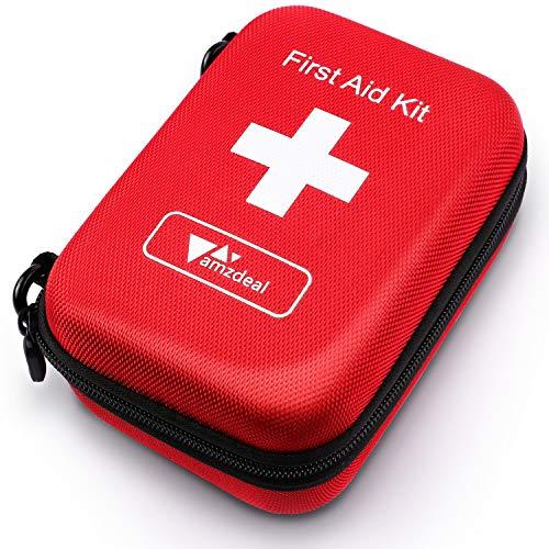 Amzdeal Erste Hilfe Set, 100-teiliges First Aid Kit ideal für Haus & Outdoor, händliche wasserdichte Verbandtasche für Sport und Reise