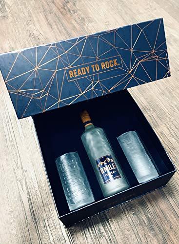 9 Mile Vodka Wodka 0,7l LED beleuchtet im GP mit 2 Highball Gläsern