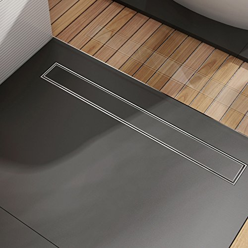 Edelstahl Duschrinne Ablaufrinne Bodenablauf Duschablauf mit Rost Komplettset inkl. Siphon , Länge: 80cm 800mm, Überzug Befliesbar