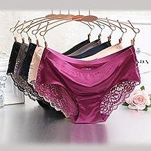 St. Lun Fashion Ice Silk Women's Panties Girl Seamless Underwear Soft Lace Briefs Plus Size (Color : Black, Size : XXL)