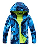 M2C Boys Hooded Softshell Pattern Windproof Active Jackets with Composite Mesh Blue 6-7