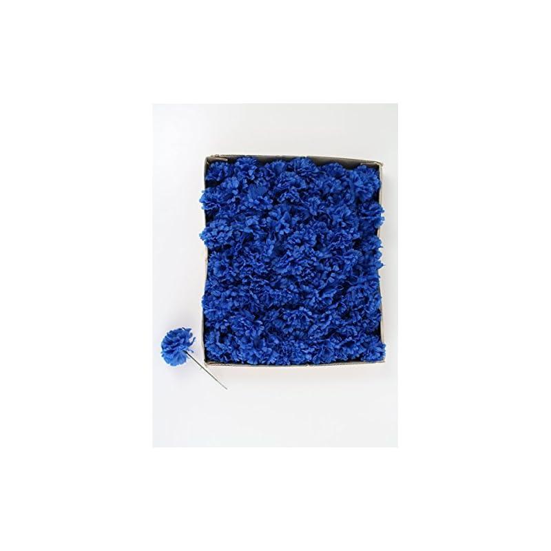 "silk flower arrangements larksilk royal blue silk carnation picks, artificial flowers for weddings, decorations, diy decor, 100 count bulk, 3.5"" carnation heads with 5"" stems"