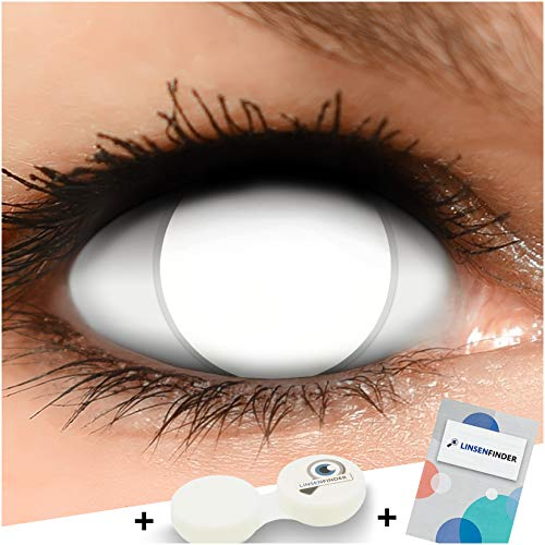 Farbige Kontaktlinsen Blind White komplett weiß STARKE SICHTEINSCHRÄNKUNG,+ Kombilösung + Behälter - Top Linsenfinder Markenqualität, 1Paar (2 Stück)