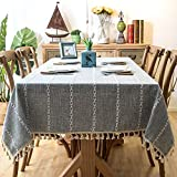 LITONGFU Table Cloth Solid Decorative Linen Tablecloth with Tassel Waterproof Thicken Rectangular Wedding Dining Table Cover Tea Table Cloth