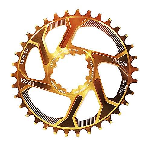 Nicole Knupfer Fahrradkettenring 32/34/36/38T BCD 104 Mountainbike Acero Singular Kurbel Kettenblatt Reparación piezas para Outdoor Radfahren, color dorado, tamaño 36T