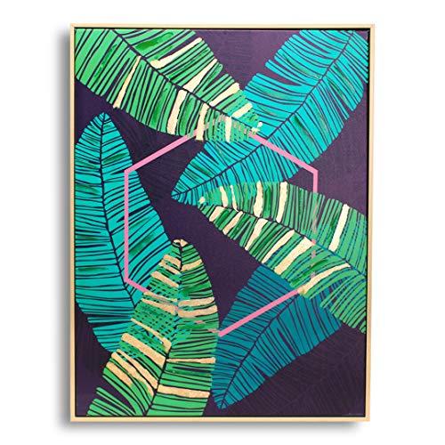 P&N Homewares Toile Imprimée Palm Island - Décoration Murale Tropicale avec Forme Géométrique