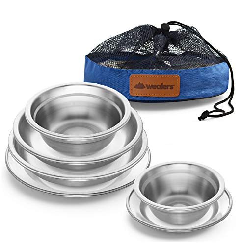 Wealers Stainless Steel Plates and Bowls Camping Set Small and Large Dinnerware for Kids, Adults, Family | Camping, Hiking, Beach, Outdoor Use | Incl. Travel Bag (12-Piece Kit)