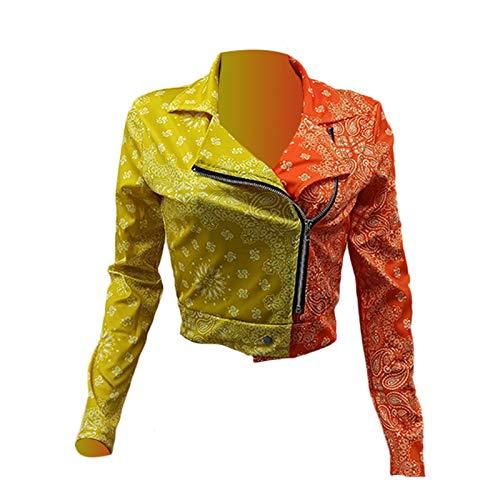Derrick Aled(k) zhuke Autumn and Winter Sexy Women's Totem Contrast Stitching Jacket Orange Yellow
