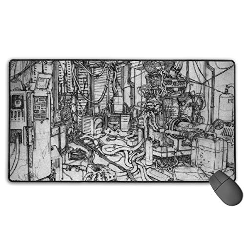Serial Experiments Lain Japanese Animation Large Gaming Mouse Pad XXL Extended Mat Desk Pad Mousepad Long Non-Slip Rubber Mice Pads Stitched Edges