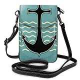Women Small Cell Phone Purse Crossbody,Vintage Style Anchor Design With Wave Water Color Antique Nostalgic Sea Sign