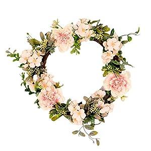 Silk Flower Arrangements Facibom Artificial Flower Wreath, Front Door Wreath Camellia Wreath for Wedding, Parties, Home Wall Decor