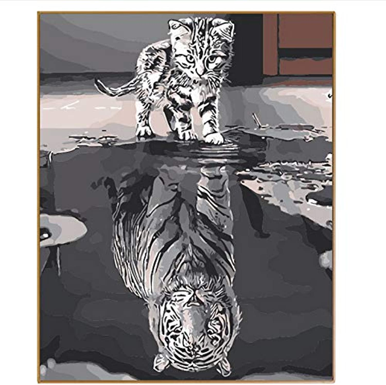 CZYYOU DIY Schöne Katze Reflexion Ölfarbe Nach Anzahl Anzahl Anzahl Kits Digitale Färbung Nach Zahlen Zeichnen Auf Leinwand Für Wohnkultur Wandkunst, Ohne Rahmen, 40x50cm B07Q2R5F38 | Verschiedene Stile und Stile  8803f6