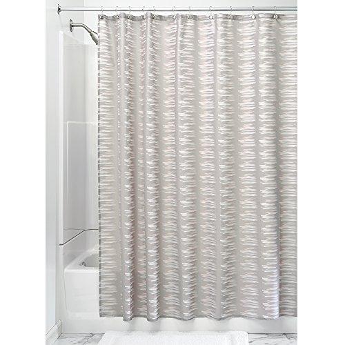 iDesign Noah douchegordijn textiel | badkuipgordijn met 12 ophanggaten | wasbaar douchegordijn 183,0 cm x 183,0 cm | polyester taupe