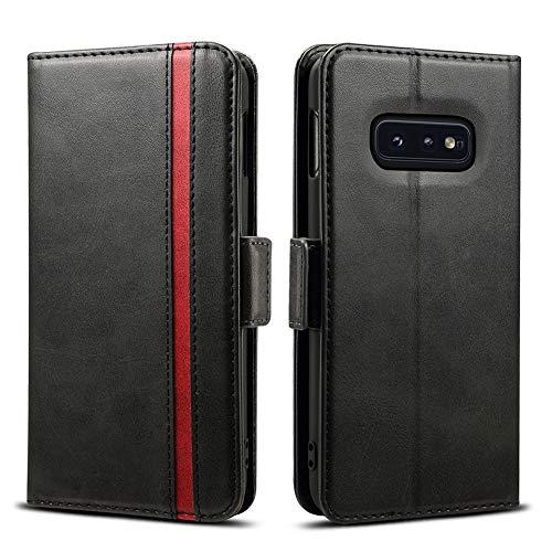 Rssviss Galaxy S10e Hülle, Samsung Galaxy S10e Handyhülle [3 Kartenfächer ] Tasche Leder Schutzhülle mit [Magnetverschluss ] für Samsung Galaxy S10e Ledertasche,Schwarz (W5)
