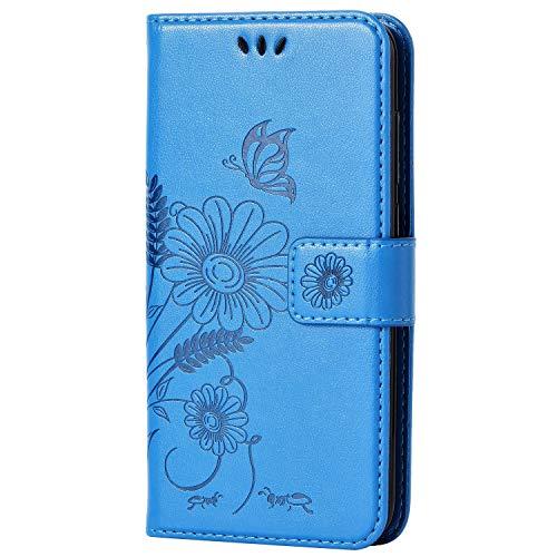 kazineer Huawei P8 Lite 2017 Hülle, Leder Tasche Handyhülle für Huawei P8 Lite 2017 Schutzhülle Blume Muster Etui Schale Case - Türkis blau