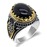 ZiFei 925 Silver Ring,Natural Agate Stone Power Auspicious Ring Handmade Turkish Signet Rings Rock Jewelry Gift for Women Men,12
