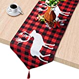 Plaid Table Runner, Cotton & Burlap Buffalo Check Table Runner, Christmas Elk Table Runner for Christmas Table Decoration, Family Dinners or Gatherings, Indoor or Outdoor Parties. 14 x 74 Inch
