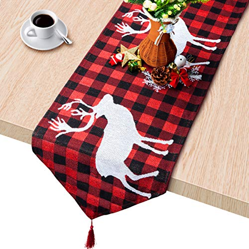 WizPower Christmas Table Runner, Cotton & Burlap Table Runner, Christmas Tree Elk Table Cloth for Christmas Table Decoration, Family Dinners or Gatherings, Indoor or Outdoor Parties - 14 x 74 Inch